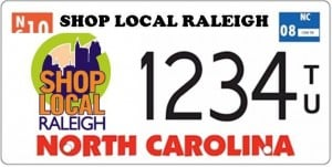 Shop Local Raleigh License Plate