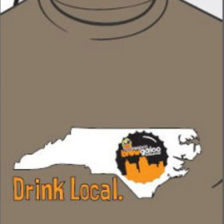 "Grey, crewneck t-shirt with a Brewgaloo bottlecap logo placed over the Triangle area of the state of North Carolina. Text ""Drink Local."" is located just below the left part of NC in orange."