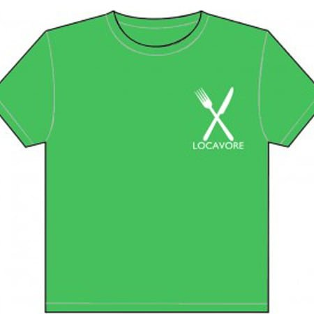 "Green, short sleeved t-shirt with a white fork and white knife, crossed like an X, on the left side of the chest. Text ""LOCAVORE"" written in white beneath the fork and knife."