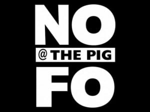 NoFO @ The Pig Logo with black background and white text.