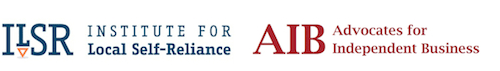 Images of two logos, ILSR (Institute for Local Self-Reliance) and AIB (Advocates for Independent Business).
