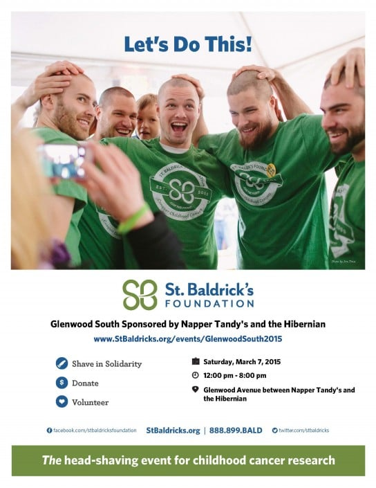 Picture of a group of guys with recently shaved heads and green St. Baldrick's shirts.