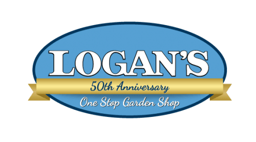 """Logo of Logan's with a blue, horizontal oval, with white text """"LOGAN'S"""" and dark navy text """"50th Anniversary"""" written in cursive."""