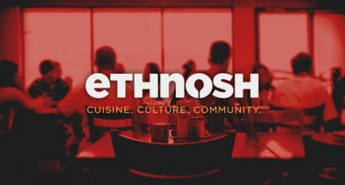 """Red background with people sitting down, eating. White text """"ethnosh"""". Below that, orange text """"cusisne, culture, community"""""""
