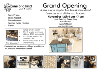 One Of A Kind Find And Design Grand Opening Shop Local Raleigh