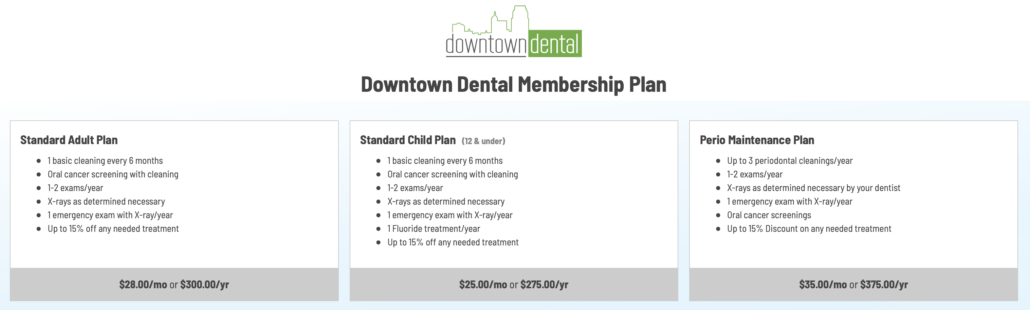 Downtown Dental Membership Plan