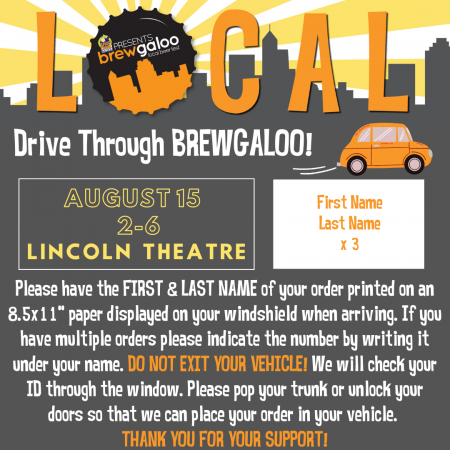 Drive Through Brewgaloo August 15
